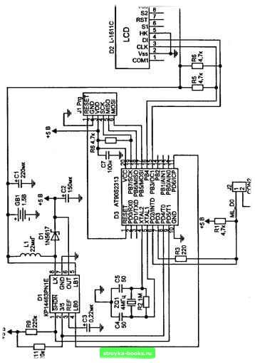 Рис. 6.10.  Электрическая принципиальная схема цифрового термометра.